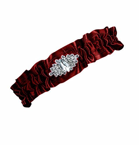 Debbie's Bridal One Piece Garter for Wedding and Prom Bridal Garter Wine Red