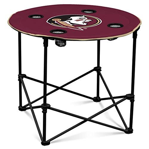 Florida State Seminoles Collapsible Round Table with 4 Cup Holders and Carry Bag (Seminoles State Florida Tailgate)