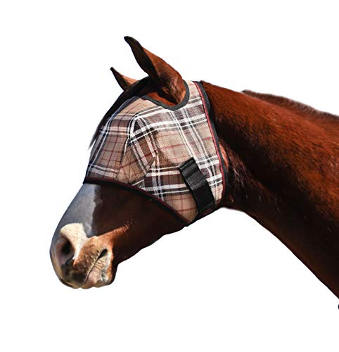 Kensington Fly Mask Web Trim - Protects Horses Face and Eyes From Biting Insects and UV Rays While Allowing Full Visibility - Ears and Forelock Able to Come Through the Mask (Medium, Deluxe Black)