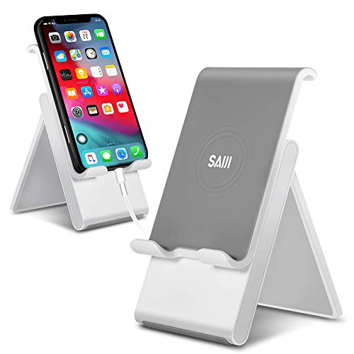 Adjustable Cell Phone Stand, SAIJI Phone Stand for Desk, Tablet Stand, Foldable Desktop Phone Holder Dock Anti-Scratch Compatible for iPad Tablet Smartphones 11 Pro- Gray