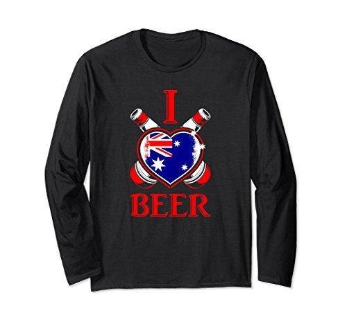 Unisex I Love Australian Beer - Australia Flag Long Sleeve T-Shirt Large Black