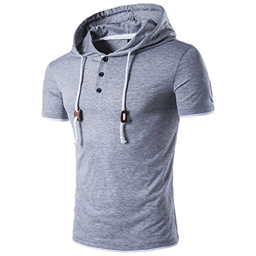 (2019 New Mens Basic Hooded Short Sleeve Button Solid T Shirt Casual Tops Gray)
