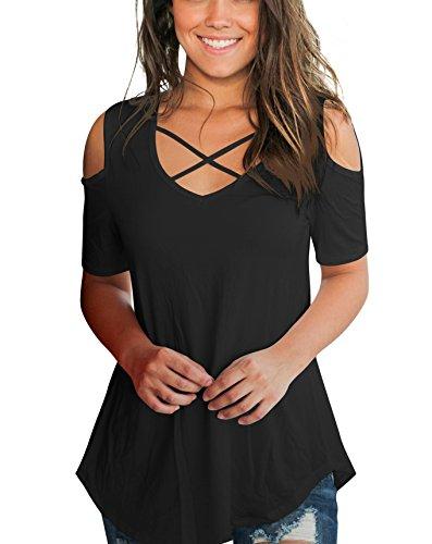 ca297e72acdb4f Aolakeke Cold Shoulder Short Sleeve T Shirts V Neck Tops Casual Criss Cross  Tunic Blouse