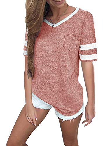 Aolakeke Womens Summer Tops Casual Cotton V Neck Sport T Shirt Short Sleeve Blouses with Stripe ()