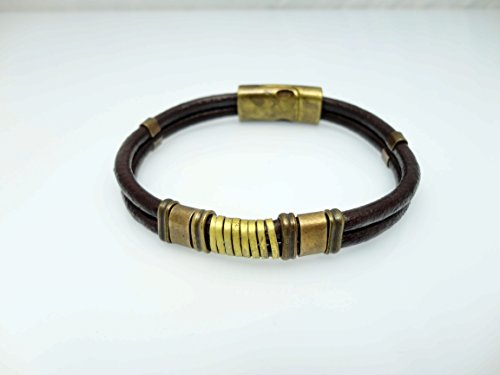 Genuine Leather Bracelet with Magnetic Clasp, Dark Brown Color, Fits for 8.0'' by Handmade Studio HS4126DB - Fossil Brand Charms