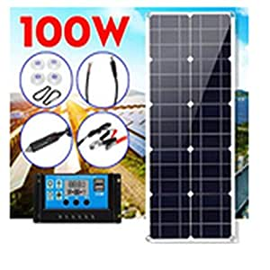 100 W solpanelskit med 10 A solcell laddningskontroll billaddare för husbil båt LCD-display PWM-kontroll