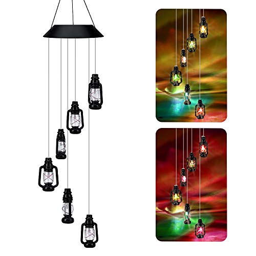 TopDirect Color-Changing Solar Powered Lanterns Wind Chime, Waterproof Spinner LED Light Six Lantern Lamp Halloween Light Windchime for Outdoor Garden Patio Party