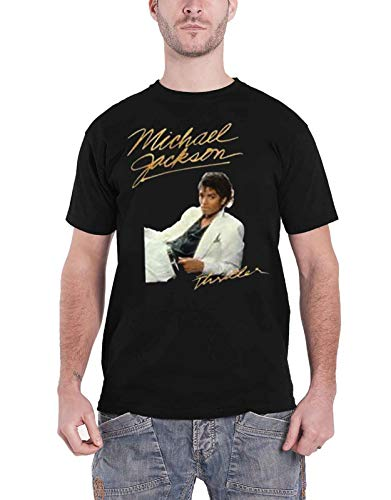 Michael Jackson T Shirt Thriller White Suit Logo Official Mens Black Size -