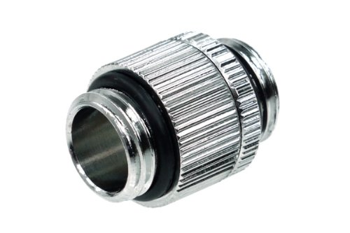 (Alphacool 17032 Double Nipple G1/4'' Outer Thread to G1/4'' Outer Thread revolvable - Chrome Water Cooling Fittings)