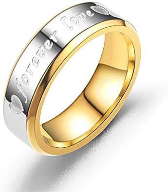 BQZB Ring Romántico Amor para Siempre Anillos de Letras para los Amantes Alianzas de Boda Anillo de Acero Inoxidable de Compromiso para Las Mujeres y los Hombres Joyería: Amazon.es: Joyería