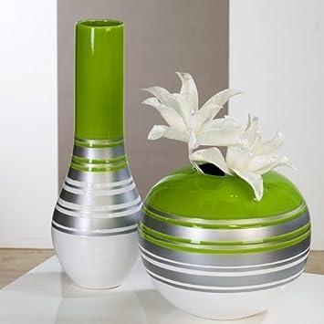 Amazonde Moderne Vase Orlando Weißgrünsilber Aus Keramik
