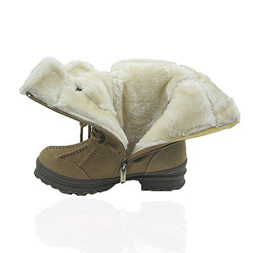 Comfy Moda Donna Inverno Ghiaccio Neve Stivali Tempo Freddo Faux Pelliccia Foderato Fango Everest