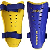Vector X BRAZIL 100-Percent-Cotton-Rib-Knit Shin Pads, Men's Large (Blue/Yellow)