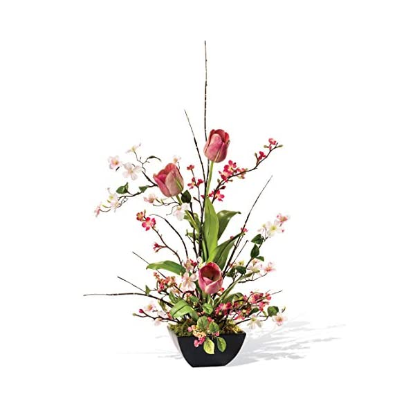 Petals – Cherry Blossom, Dogwood, Tulip Silk Flower Arrangement – Handcrafted – Amazingly Lifelike – 30 x 20 Inches