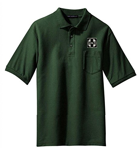 AT&SF Santa Fe Black Cross Logo Embroidered Polo Forest Green Adult L [120]