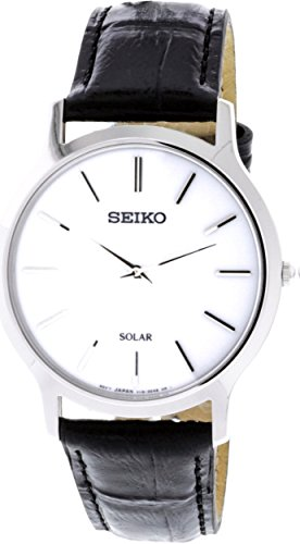 Tone Case Leather Strap (SEIKO SUP873P1,Men's Solar Quartz,Silver tone Stainless steel Case,Leather Strap,30m WR,SUP873)