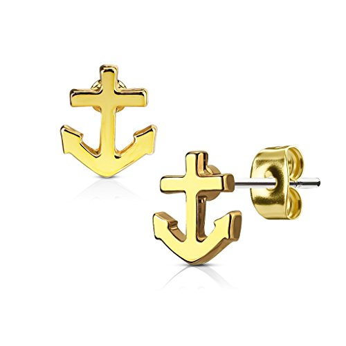 Pierced Owl Nautical Anchor Post Earring Studs in 316L Surgical Steel (Gold Tone)