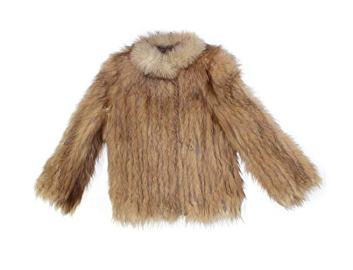 (Bergama 910917 New Crystal Dyed Fox Fur Cord Cut Jacket Coat Stroller M Medium Light Brown )