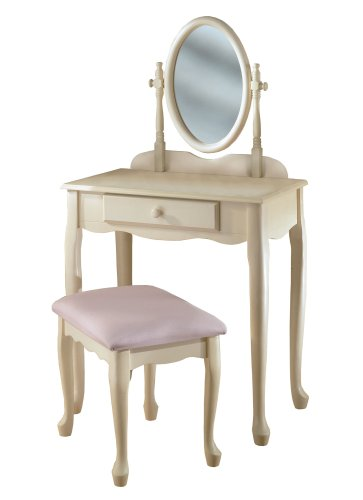 Powell Off-White Vanity and Bench - Anne Style Queen Storage Bench