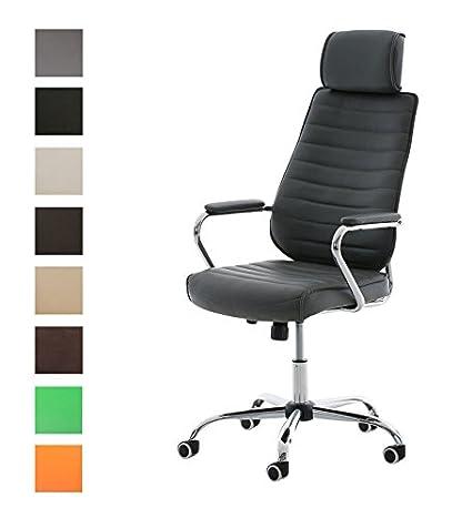 CLP Silla de Oficina Rako en Cuero Sintético I Silla Ejecutiva Regulable en Altura I Silla de Escritorio Giratoria I Color: Gris