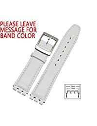 Zhuolei 17mm Waterproof Genuine Leather Watch Strap Band Replacement for Swatch Irony Black and White