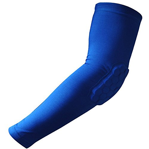 Topteck Crashproof Honeycomb Pad Cycling Basketball Shooting Arm Sleeve Elbow Support Blue Size L