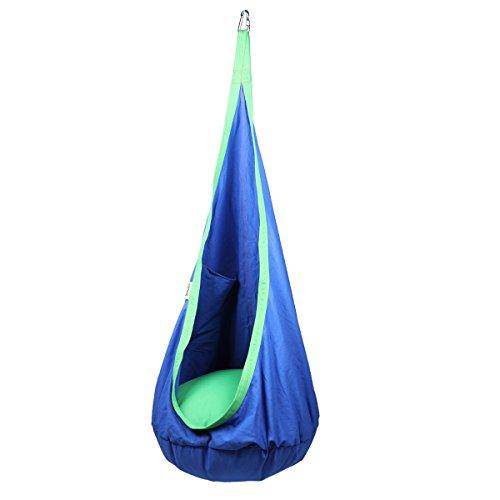 Goetland Kids Hammock Pod Chair Swing Seat Hanging Chair Outdoor and Indoor, Blue