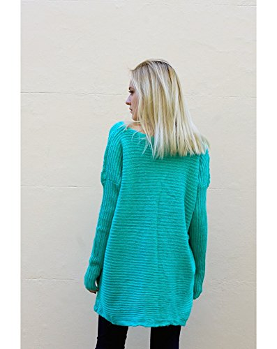 Lady de punto Plain color azul crema rosa verde larga Jersey Top oversize bolsillos frontales Verde