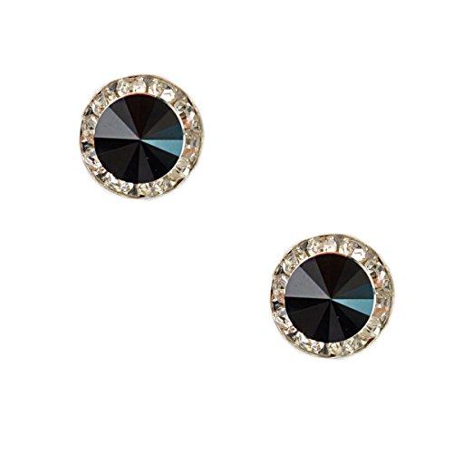 Silver Plating Element Jet Rhinestone 15Mm Rondelle Circle Round Shape Stud Earring -