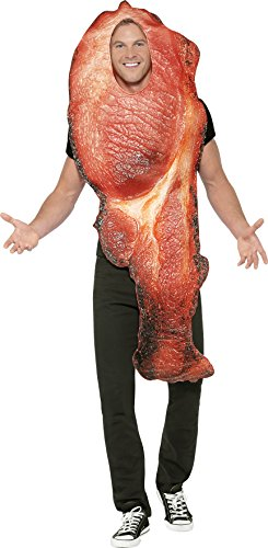 Smiffy's Men's Bacon Costume, Tabard with Sublimation Print, Funny Side, Serious Fun, One Size, (Funny Male Halloween Costumes Uk)
