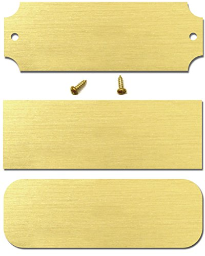 1' H x 2.5' W, Blank Solid Brass Satin Name Plates, Lacquered Perpetual Plaque Blank Tag, 10 Pieces, Made in USA