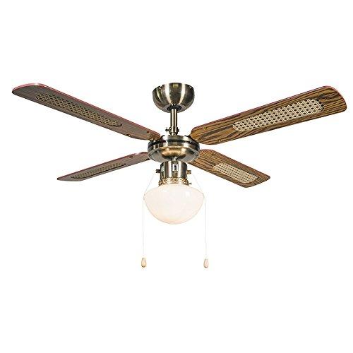 QAZQA Rétro Ventilateur de Plafond avec lumiere bronze - Wind 42 verre/Bois /Métal Bronze,Marron Rond E14 Max. 1 x 60 Watt/Luminaire / Éclairage/intérieur / Salon/Cuisine