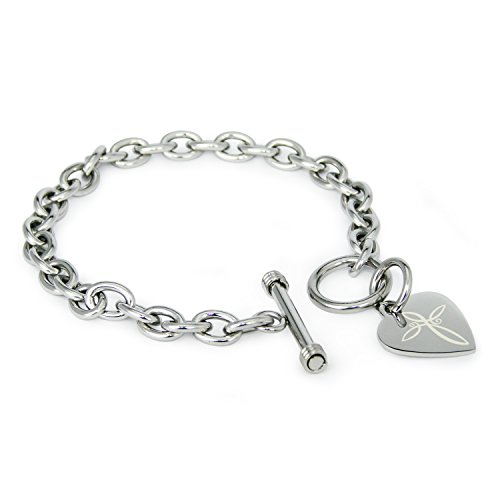 Stainless Steel Infinity Cross Symbol Heart Charm, Bracelet Only (Tiffany Heart Toggle Bracelet)