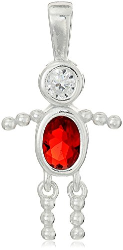 (Sterling Silver AAA Cubic Zirconia Simulated Birthstone Babies Boy Charm, July )