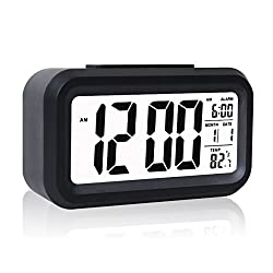 Eridge Slim Digital LCD Alarm Clock Travel Clocks Battery Operated for Home Office-Black (Large Display, Soft Backlight, Temperature & Snooze Function)