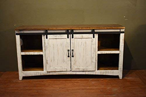 Crafters and Weavers Greenview White 67 TV Stand Sideboard Console Table with Sliding Barn Doors