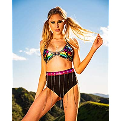 iHeartRaves Electro High Waisted Booty Shorts Brief Pin-Up Style Bikini Bottoms at Women's Clothing store