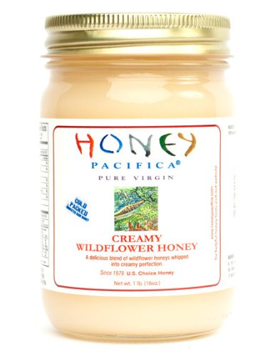 Creamy Wildflower Raw Honey by Honey Pacifica - Unheated & Unprocessed Honey - (1 lb. Glass Jar)