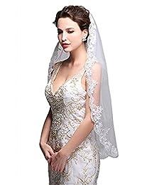 Bridess Women's Fingertip Wedding Veil with Lace Applique Edge