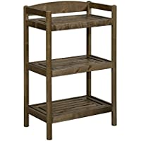 New Ridge Home Goods Exmore Low Bookcase / Media Tower with Adjustable Shelf, Antique Chestnut