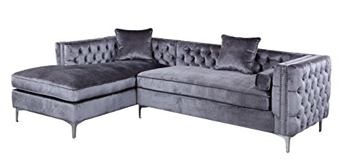 iconic home da vinci tufted silver trim grey velvet left facing sectional sofa with silver tone metal ylegs