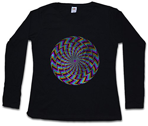 Hypno Spiral II Women Long Sleeve T-Shirts Sizes XS - 2XL Black