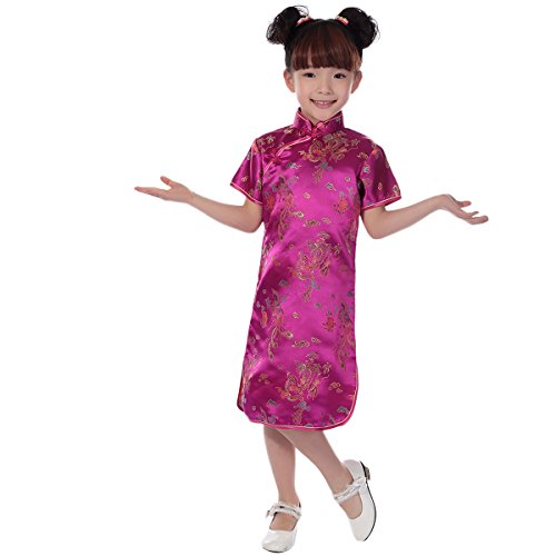 Little Big Girl Chinese Dragon Phoenix Qipao Cheongsam Dress for Kids Floral Summer Mini Traditional Costume Dance Gown Hot Pink 1-2 Years