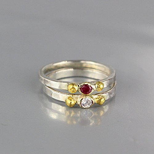 Handcrafted Diamond Wedding Band in Sterling Silver 24k Gold and Solid 14k Yellow Gold Bezel Set, Delicate Diamond Engagement Ring, Sizes US 3.5 - 12