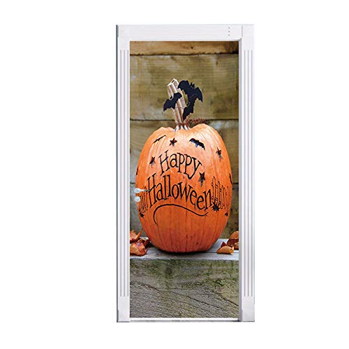 DENG@SH 3D Door Stickers,Children's Room Interior Door Entrance Sticker Waterproof Halloween Pumpkin Mural Photo Bedroom Door Creative Accessories Home DIY Can Be Removed Modeling/A / -