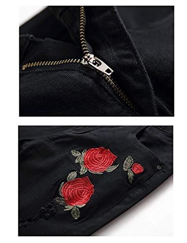 Negro De Casual Los Pants Mezclilla Retro Fashion Rose Bordado Ropa Jeans Ripped Hole Destroyed Pants Hombres Pantalones Pantalones ADELINA Denim De RqwpgFw