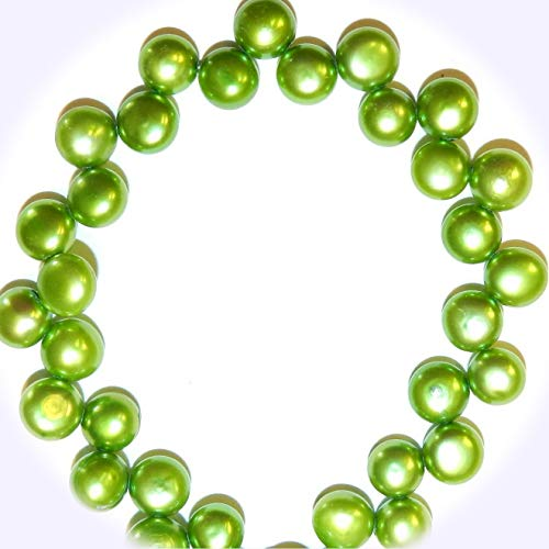 New Green 6mm - 9mm Top-Drilled Flat Round Button Freshwater Pearl Jewelry-Making Beads 15-inch DIY Craft Supplies for Handmade Bracelet Necklace ()
