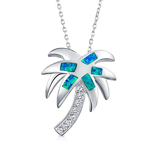 Nautical Tropical Beach Blue Inlayed Created Opal Palm Tree Pendant Necklace For Women For Teen 925 Sterling Silver