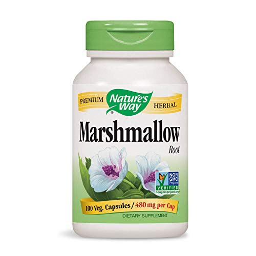 Nature's Way Premium Herbal Marshmallow Root 480 mg per capsule, 100 VCaps (Packaging May Vary)