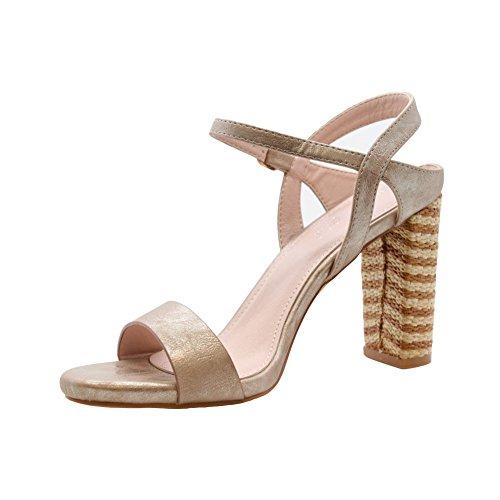 Sandales De De Talon Partie L'été Sauter Haut Orteils De Chaussures Sangle Dames 8 Des Taille Or Femmes Bloc Styles Des 3 Les Milieu Peep Faire fUvwd6qxP6